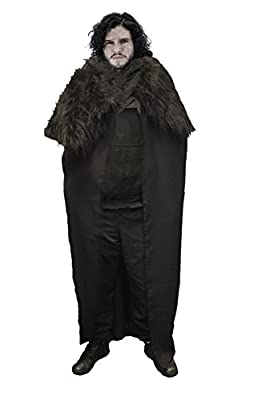 John Snow Long Cape Cloak Game of Thrones Direwolf Blackwatch Fancy Dress[Nights Of The Blackwatch]