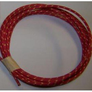 18 Ga Cotton Braided Wire, 10 Foot Section. Color: Red With White Tracer