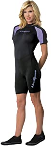 NeoSport Wetsuits Women's Premium Neoprene 3mm Shorty,Lavender Trim,10