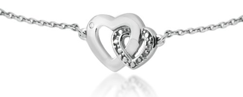 Silver Rhodium Plated 0.005ct Diamond Set Double Heart/Belcher Necklet 41cm + 5cm Extender