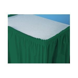 "Hunter Green Plastic Table Skirt 29"" x 14' Rectangular Party"