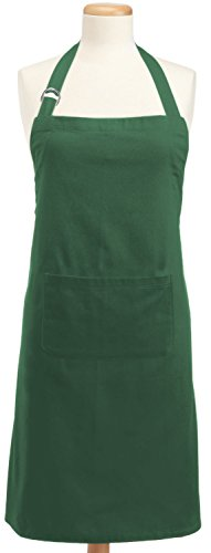 DII 100% Cotton, Professional Bib Chef Adult Apron, Adjustable Neck & Waist Ties, Front Pocket, Unisex, Durable, Comfortable, Perfect for Cooking, Baking, Barbequing, & More - Dark Green