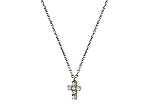 Silver Black Plated Chain,Black Plated Cz 8 mmCross Necklace 16