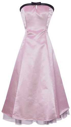 50's Strapless Satin Formal Bridesmaid Gown Holiday Prom Dress, XS, Pink
