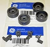 PART # WD12X10277 AND WD12X10136 4PC+4PC GENUINE FACTORY OEM ORIGINAL DISHWASHER RACK ROLLER STUD AXLE AND ROLLER WHEEL KIT FOR GE HOTPOINT
