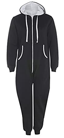 UNISEX MENS WOMENS AZTEC PRINT ONESIE ZIP UP ALL IN ONE HOODED JUMPSUIT S M L XL (SMALL, Black Plain)