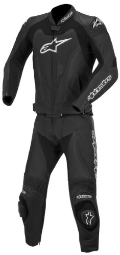 Alpinestars GP Pro Two-Piece Leather Suit, Gender: Mens/Unisex, Primary Color: Black, Size: 48, Apparel Material: Leather, Distinct Name: Black 3165014-10-48