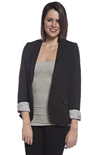 9XIS Womens Boyfriend Blazer,Black,Medium