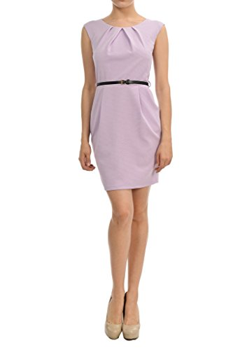 Auliné Collection Women's Color Office Workwear Sleeveless Sheath Dress Lilac Purple Small