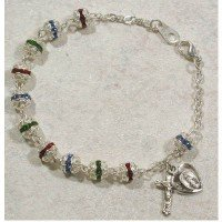 Womens Rosary Bracelet 6mm Multicolor Double Capped.
