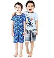 2 Pack Pure Cotton Assorted Short Pyjamas