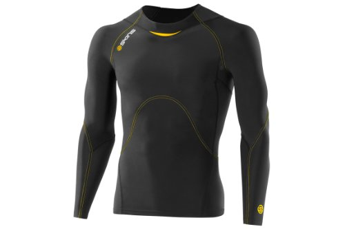 Skins A400 Men's Compression Long Sleeve Top black/yellow Size M 2014 running tshirt