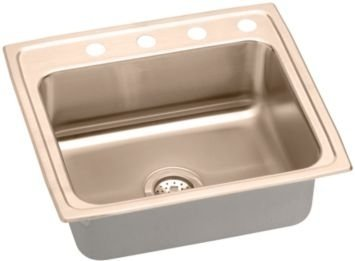 Elkao|#Elkay LRAD2222450-CU Elkay 18 Gauge Cuverro Antimicrobial copper 22 Inch x 4.5 Inch single Bowl Top Mount Sink,