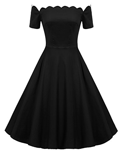 ACEVOG Women 1950s Retro Vintage Polka Dot Short Sleeve Party Swing Dress Black M