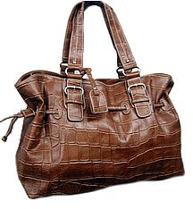 New-Brown-Synthetic Croco-Handbag-Tote