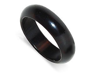 6mm wide Black Onyx Gemstone Band Ring Size 8.5