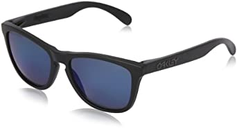 Oakley mens Frogskins 24-403 Iridium Polarized Sport Sunglasses,Matte Black/Ice Iridium Polarized,55 mm