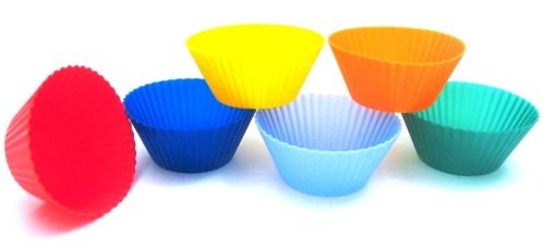 Kitchen Supply Silicone Baking Cups, Set of 6, 3-Inch Muffin Cups