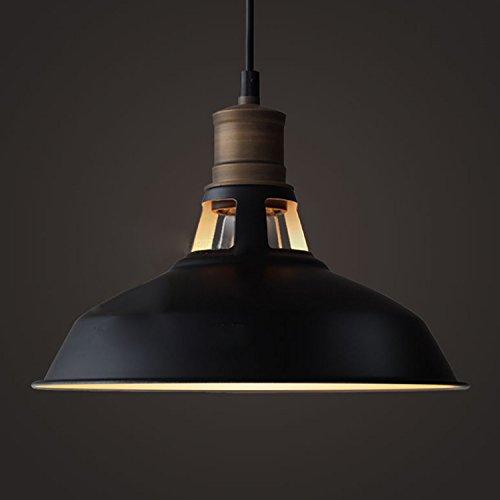 Edison-industriale-antico-appeso-lampada-a-sospensione-con-paralume-cupola-in-metallo-nero-opaco