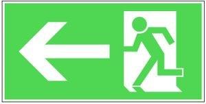 0019. Rettungsweg links - KOMBI Folie RETTUNGSWEG LINKS E01-E09 - 150x300mm