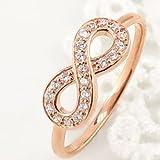 [ジュエリーアイ]インフィニティ リング 無限 ∞ ダイヤモンドリング ピンクゴールドK18 18金 ピンキーリング 指輪 豪華 K18PG 人気 5.5号