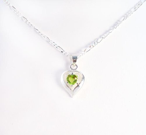 Birthstone August Green Heart Crystal Sterling Silver Necklace, 20
