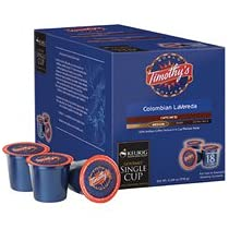 Timothys Colombian La Vereda Coffee For Keurig K-Cup Brewing System 108 Count