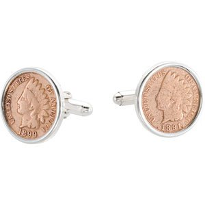 Sterling Silver Cufflinks Set With Indian Head Pennys 19.75x19.8mm - JewelryWeb