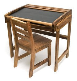Lipper 554A Desk with Chalkboard Top and Chair in Natural Acacia