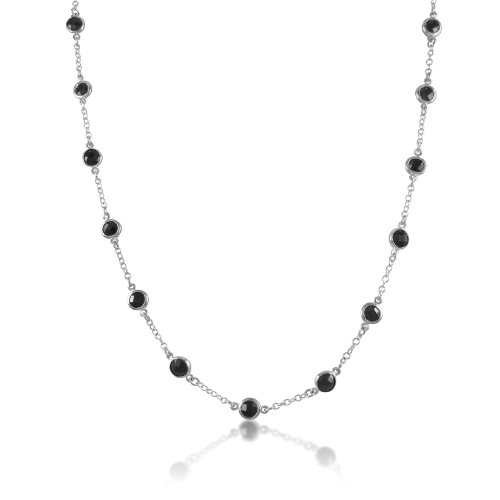 6mm Round Coin Black CZ Bezel Set on Sterling Silver Cable Chain 28