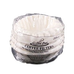 Basket Filters for Drip Coffeemakers, 10 to 12 Cups, White, 200 Filters/Pack from Coffee Pro