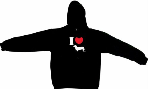 I Heart Love Weiner Dog Dachshund Silhouette Logo Men'S Hoodie Sweat Shirt Xxxl (3Xl), Black