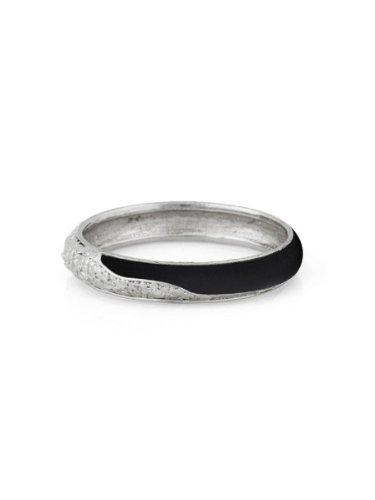 Belle Noel By Kim Kardashian Nugget and Leather Bangle - Palladium/Black