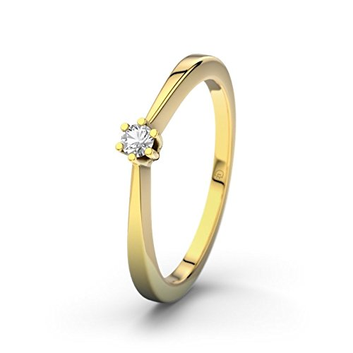 21DIAMONDS Seattle Women's Ring Engagement Ring Round Brilliant Cut White Topaz 9ct Yellow Gold Engagement Ring