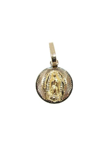 14k Yellow Gold, Virgin Mary Guadalupe Pendant Charm 20mm Wide