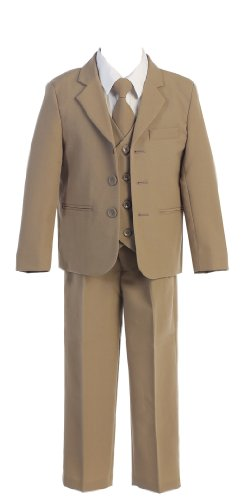 Toddlers Oxford 5 Piece Suit In 6 Colors Boys Formal Wear Color: Tan Boys Formal Wear Size: Size 3
