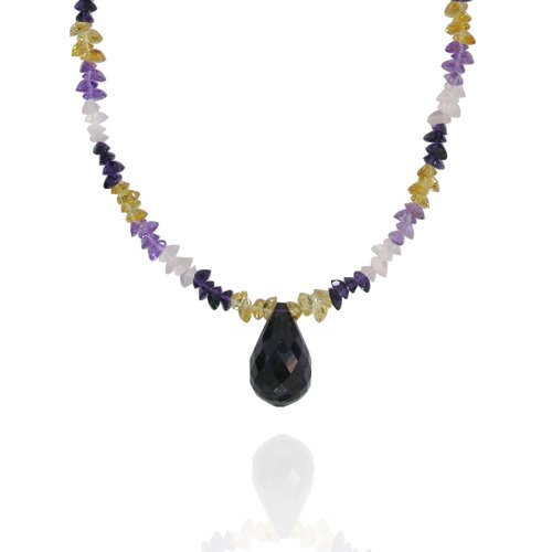 Amethyst Drops 18x20mm with Multi Gemstone Bead Necklace, 18+2