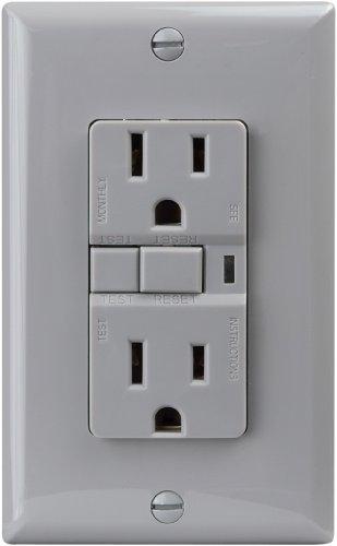 Cooper Wiring Devices Vgf15Gy 15-Amp 2-Pole 3-Wire 125-Volt Duplex Ground Fault Circuit Interrupter, Gray