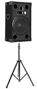 "2) VM Audio VAS312P 1800 Watt 3 Way 12"" DJ Passive Loud Speakers + Tripod Stands"