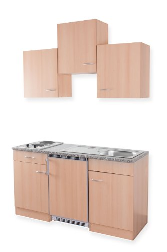 Details for MEBASA MEBAKB1500BB Miniküche, Singleküche 150 cm mit Oberschränken in Buche Duokochplatte und Unterbaukühlschrank zu Mebasa