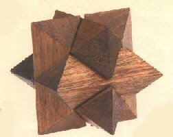 3 Inch Wooden Star Shaped Brain Teaser 3D Puzzle, Dark Brown - 1