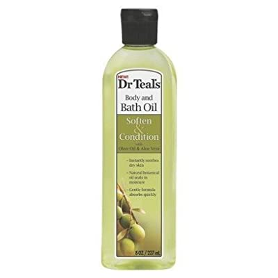 Dr Teal's Body & Bath Oil with Olive Oil & Aloe Vera, Soften & Condition, 8.8 Fl Oz