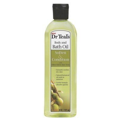Dr Teal's Body & Bath Oil with Olive Oil & Aloe Vera, Soften & Condition, 8.8 Fl Oz 8.8 Ounce Bath