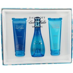Cool Water By Davidoff For Women. Set-edt Spray 3.4 Ounces & Body Lotion 2.5 Ounces & Shower Gel 2.5 Ounces