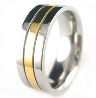7MM Polished Stainless Steel Ring With Gold Plated Center For Men