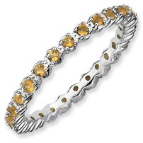 0.47ct Everlasting Beauty Silver Stackable Citrine Ring. Sizes 5-10 Available