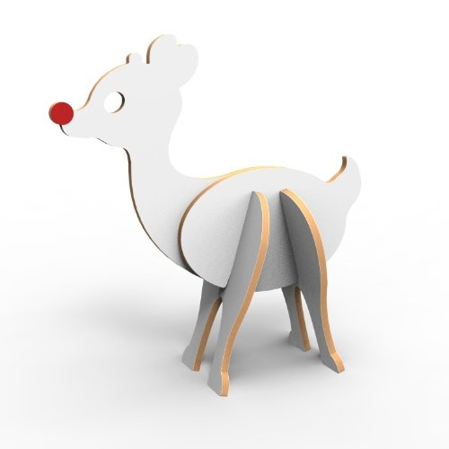 Topozoo Red-Nosed Reindeer 3D Wood Puzzle, White - 1