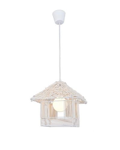 Homemania Lampada A Sospensione Kulube Bianco 35 x 35 cm