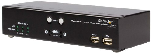 StarTech.com SV231USBAN 2-Port USB KVM Switch with Ethernet Switch, Audio and USB Hub
