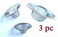 Lowprice Online Stainless Steel Mesh Sink Strainer 3 pc Drain Kitchen Bathroom Shower Clog